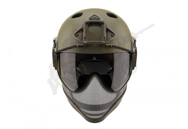 WARQ Airsoft Full Face Helm - Oliv