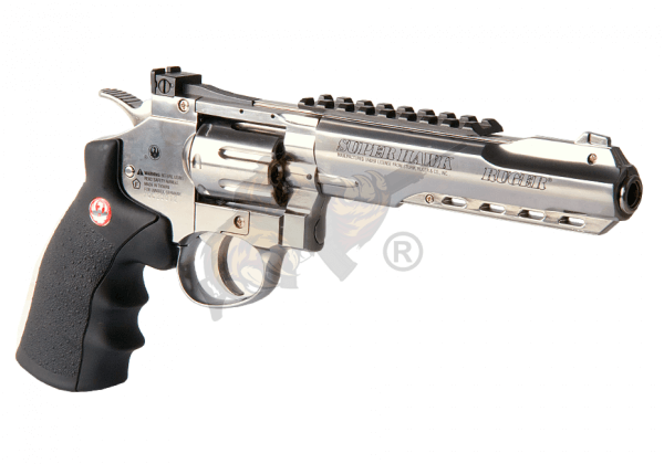 Ruger 6 Inch SuperHawk Chrom Full Metal Co2 Airsoft Revolver-F-