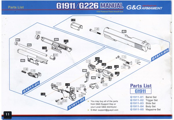 Part G1911-01 #1-20 from G&G