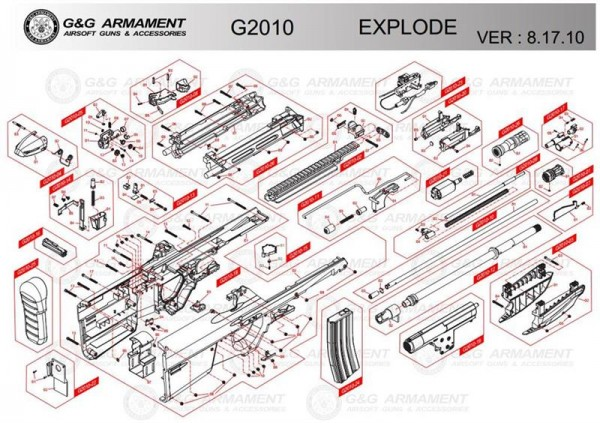 Part G2010-18 for the Airsoft FN2000 from G&G (Receiver for G2010)
