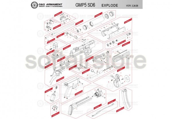 Spare Part MP5SD6-13 (kompletter Silencer) for the PM5 SD6 from G&G